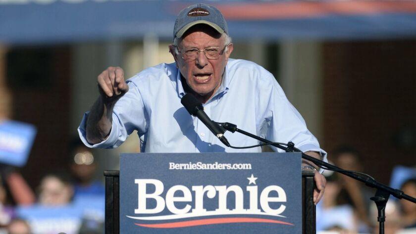 Sen. Bernie Sanders (I-Vt.) speaks at a rally in Charlotte, N.C. on Friday.