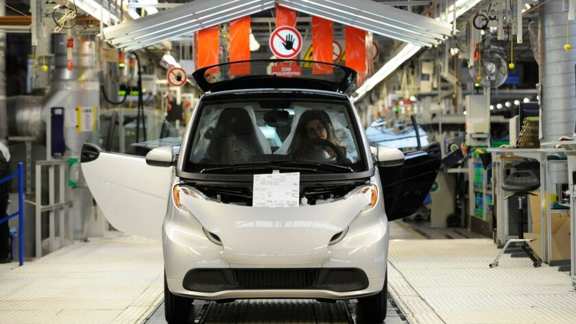 A Smart ForTwo is pictured at the Smart factory in Hambach, eastern France, in 2012.