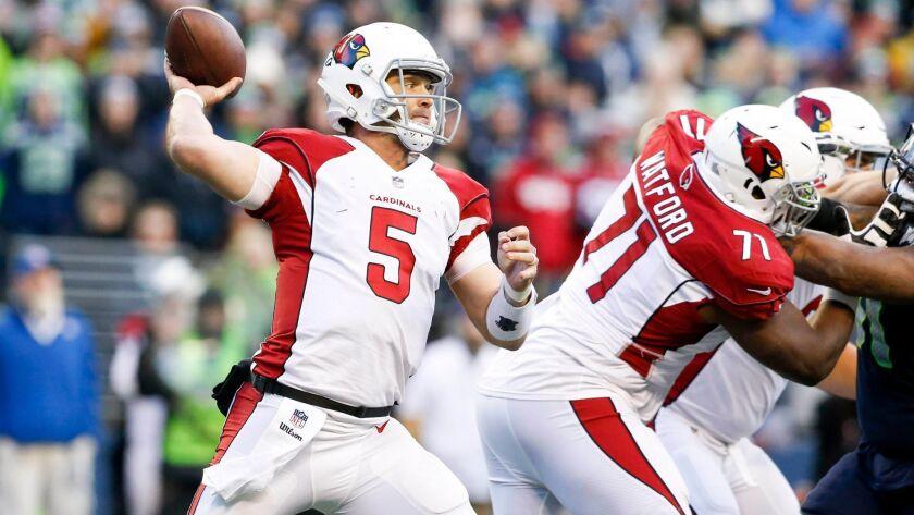 Cardinals quarterback Drew Stanton passes in the season finale against the Seahawks.