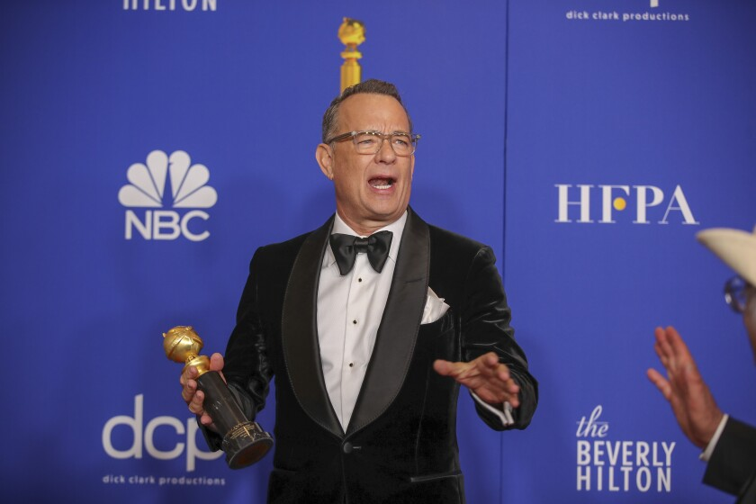 Cecil B. DeMille Award winner Tom Hanks at the 77th Golden Globes at the Beverly Hilton on Sunday.