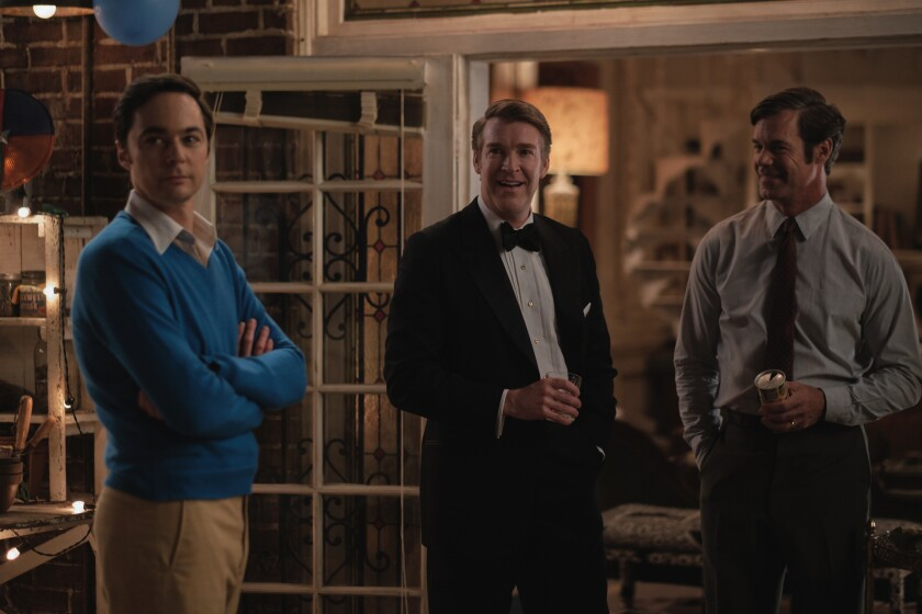 """Jim Parsons, Brian Hutchison and Tuc Watkins in the Netflix film of """"The Boys in the Band."""""""