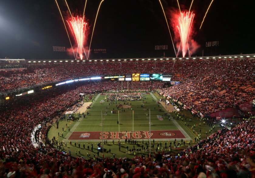 Fireworks explode over Candlestick Park after the San Francisco 49ers beat the Atlanta Falcons 34-24 in an NFL football game in San Francisco, Monday, Dec. 23, 2013. The 49ers played their last regular season game at Candlestick before moving a new stadium for the 2014 season. (AP Photo/Aaron Kehoe