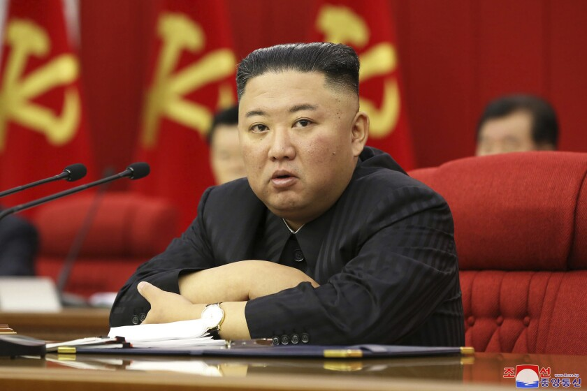 In this photo provided by the North Korean government, North Korean leader Kim Jong Un speaks during a Workers' Party meeting in Pyongyang, North Korea, Friday, June 18, 2021. Kim ordered his government to be prepared for both dialogue and confrontation with the Biden administration — but more for confrontation — state media reported Friday, days after the United States and others urged the North to abandon its nuclear program and return to talks. Independent journalists were not given access to cover the event depicted in this image distributed by the North Korean government. The content of this image is as provided and cannot be independently verified. (Korean Central News Agency/Korea News Service via AP)
