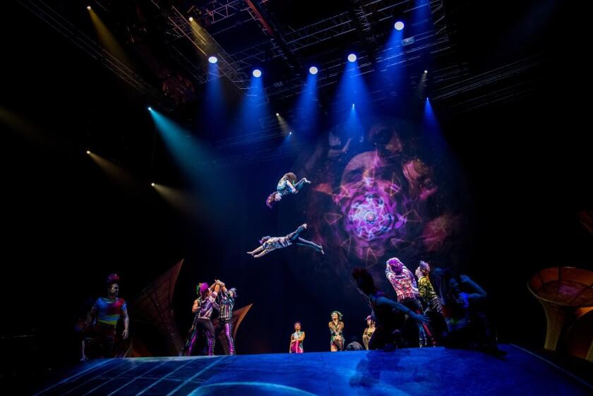 """Una escena de """"Sép7imo Día- No descansaré"""", el montaje de Cirque du Soleil que le rinde tributo a Soda Stereo y que llega pronto a L.A."""