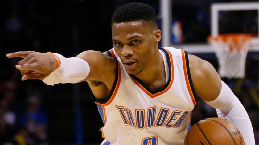 Oklahoma City guard Russell Westbrook remains on pace to become only the second player to average a triple-double.