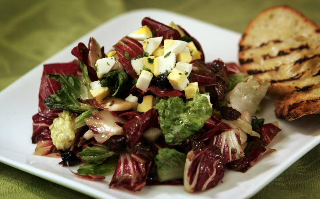 Grilled radicchio and romaine chopped salad