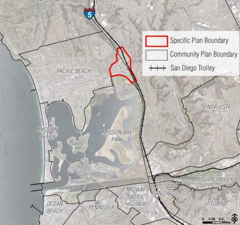 Neighborhood redevelopment: Red lines indicate Balboa Avenue Station Specific Plan area for the trolley stop coming in 2021. PB planners want more time to review the proposals, but the City wants all input by Dec. 31, 2018.