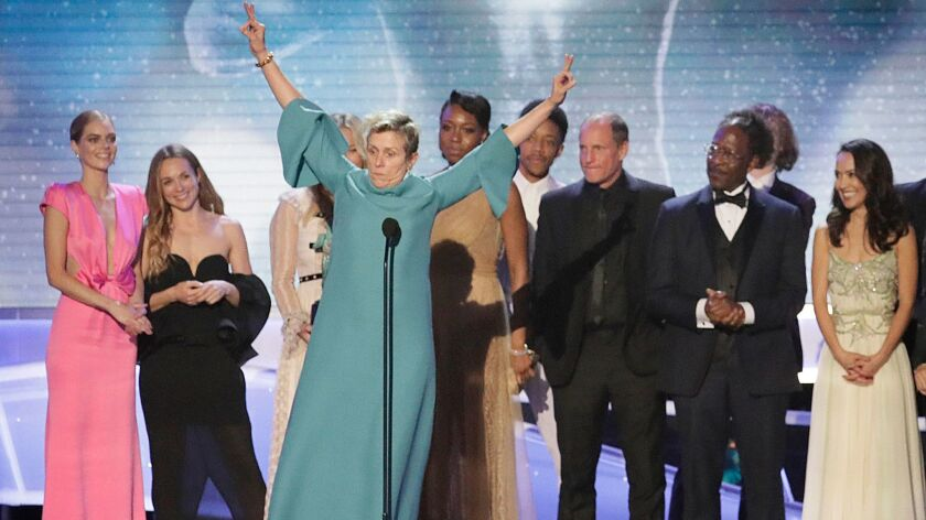 LOS ANGELES, CA - January 21, 2018- Frances McDormand takes the stage with the cast and crew after
