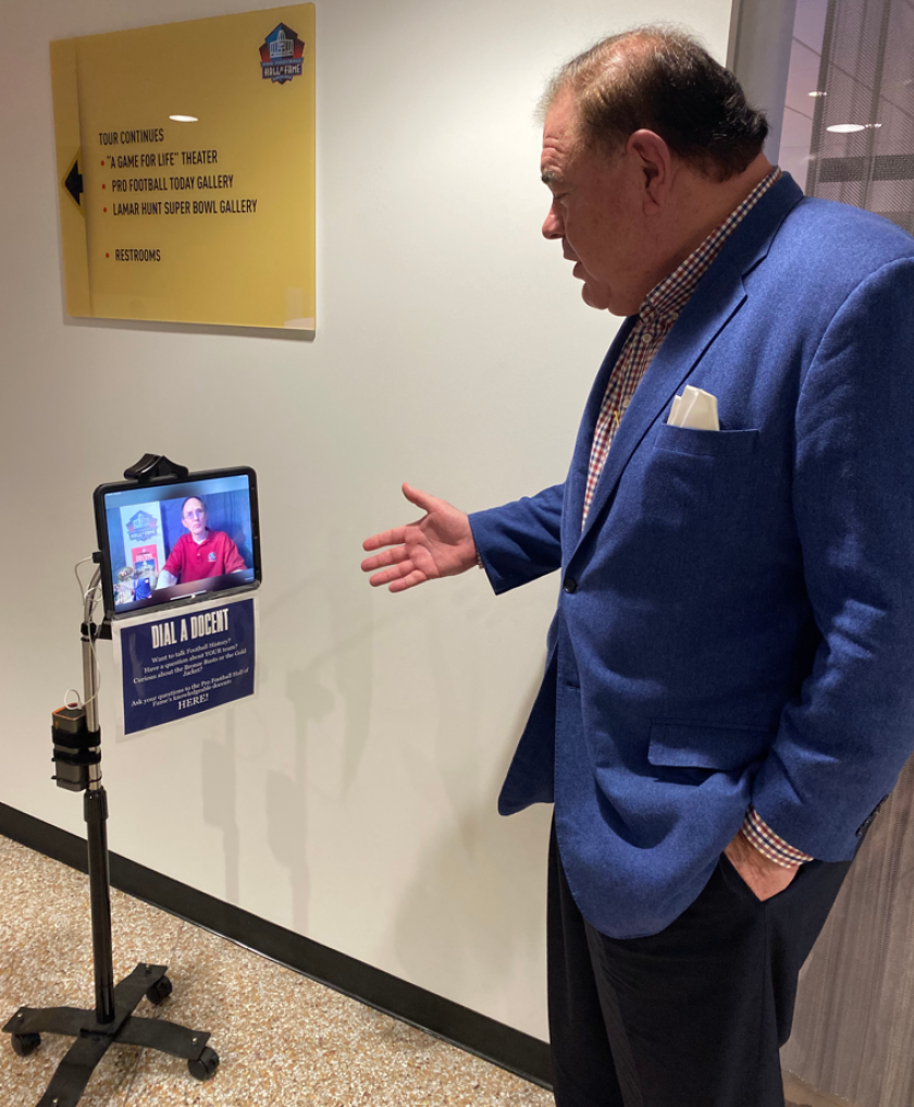 Pro Football Hall of Fame president and chief executive David Baker talks to virtual docent Steve Flack.