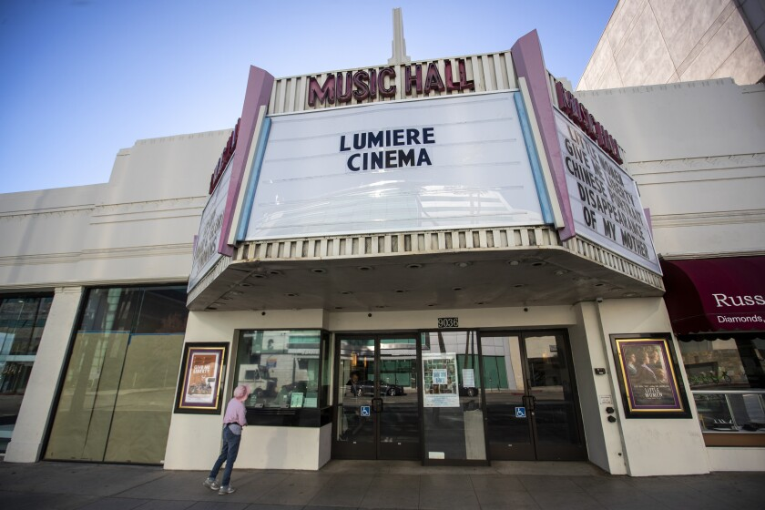 The exterior of the Lumiere Cinema at the Music Hall in Beverly Hills on Dec. 31, 2019.