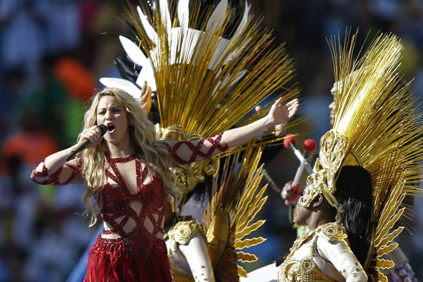 Colombian singer Shakira performs during a closing ceremony ahead of the final football match between Germany and Argentina for the FIFA World Cup at The Maracana Stadium in Rio de Janeiro on July 13, 2014. (Getty Images)