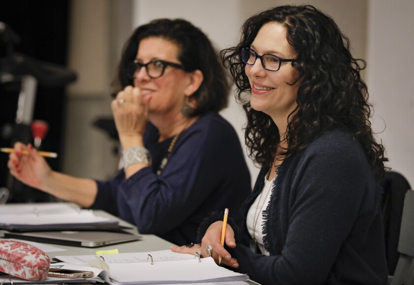 """""""They Promised Her the Moon"""" playwright Laurel Ollstein (left) and director Giovanna Sardelli at an Old Globe rehearsal."""