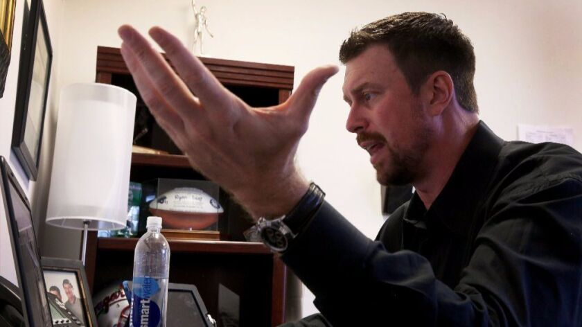 Ryan Leaf delivers an inspirational speech via Skype to a large group of high school students in Texas, telling the story of his rise to fame and his fall into addiction and ultimately into prison.