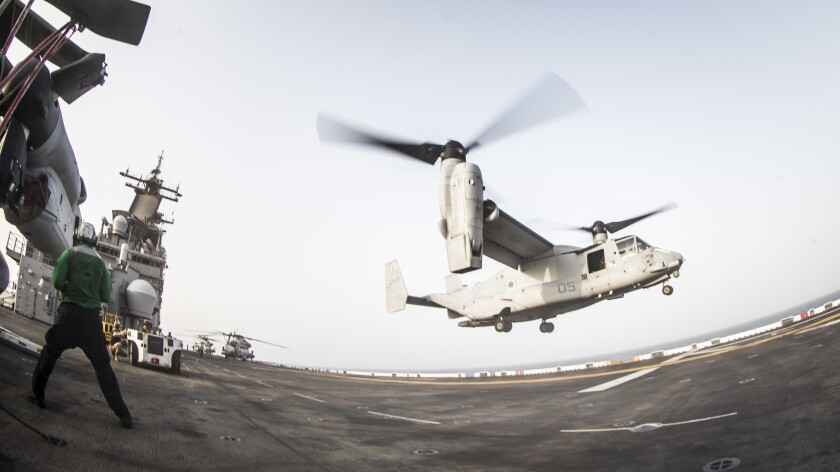 ARABIAN SEA (July 11, 2019) An MV-22B Osprey with Marine Medium Tiltrotor Squadron 163, 11th Marine Expeditionary Unit, takes off from the amphibious assault ship USS Boxer (LHD 4) during flight operations. The Boxer Amphibious Ready Group and the 11th MEU shot down what President Donald Trump said was an Iranian drone Thursday.