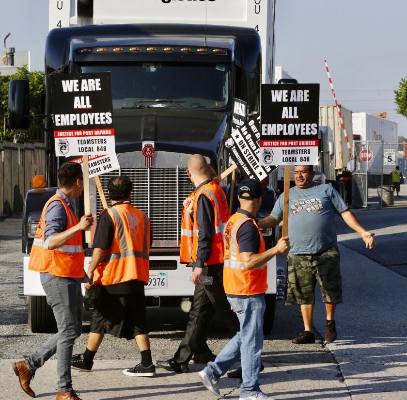 Striking truckers in Los Angeles
