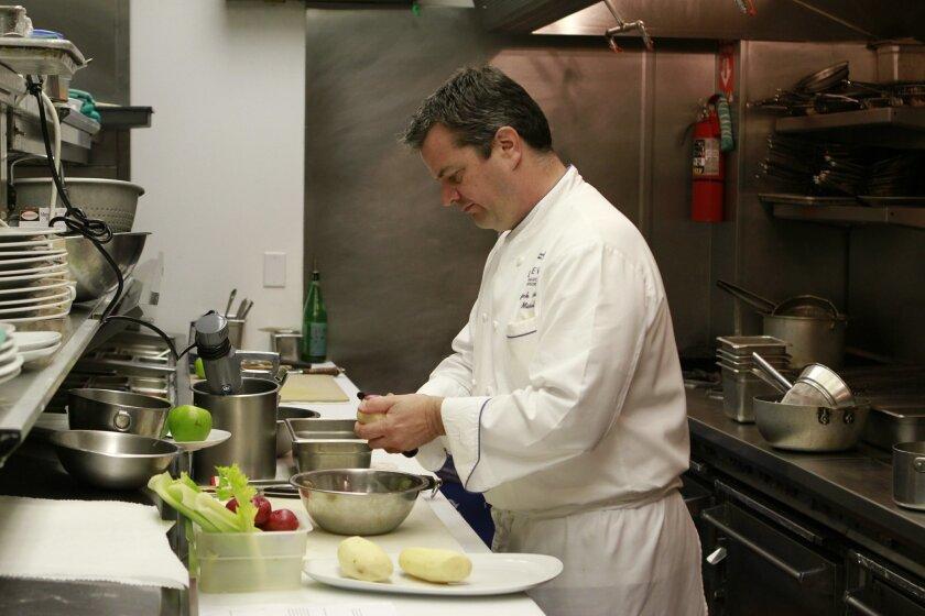 Patrick Ponsaty, in his former kitchen at Mistral in Coronado.
