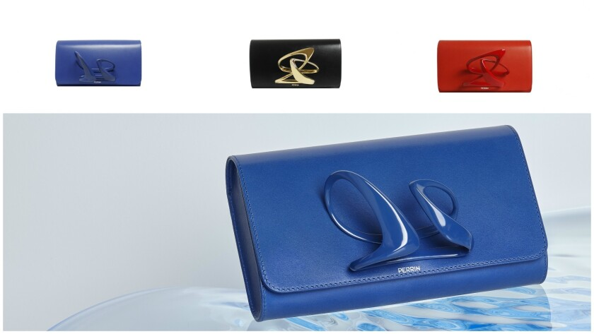 Leather and metal clutches from the collaboration between luxury accessories brand Perrin Paris and