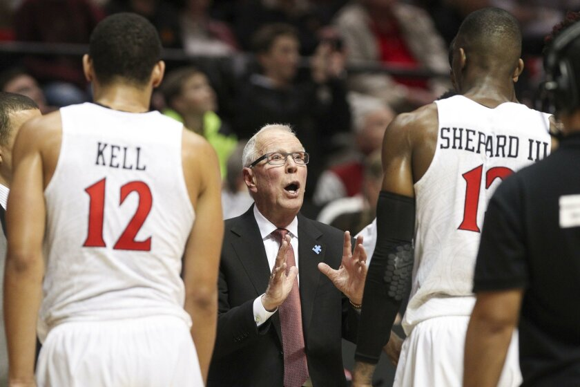 SAN DIEGO, January 19, 2016 | The Aztecs' coach Steve Fisher during game  against Fresno State at the Viejas Arena in San Diego on Tuesday. | -Mandatory Photo Credit: Photo by Hayne Palmour IV/San Diego Union-Tribune, LLC