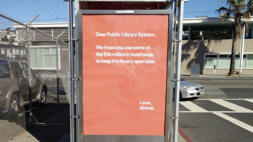 Not the best approach to the San Francisco voter: An Airbnb bus shelter ad.