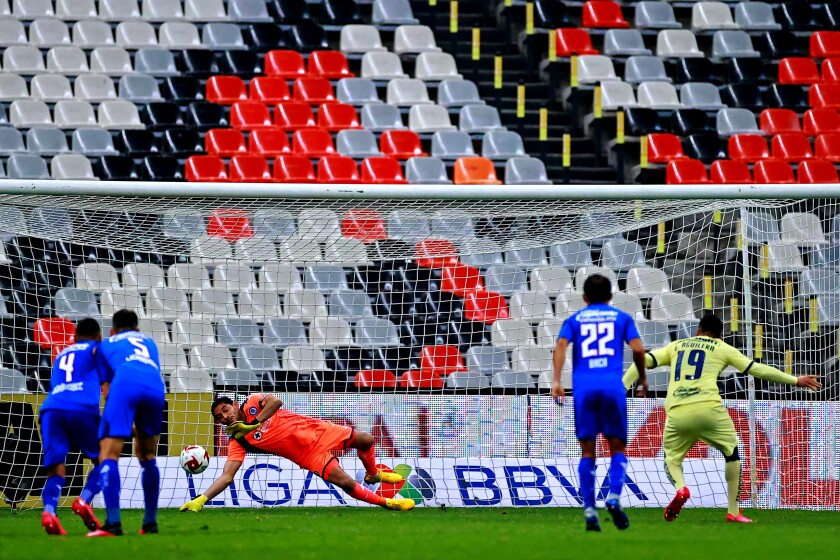Cruz Azul and America played a match behind closed doors March 15 at Azteca Stadium in Mexico City.