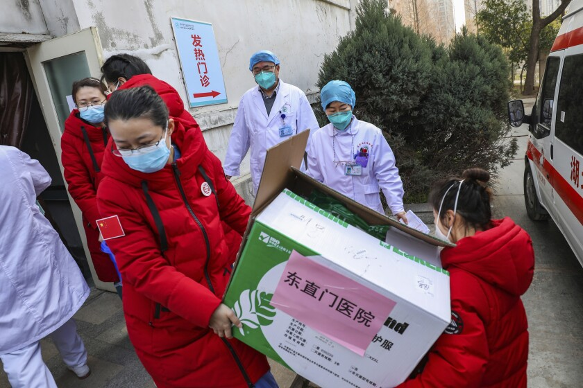 Medical supplies arrive at a Wuhan hospital