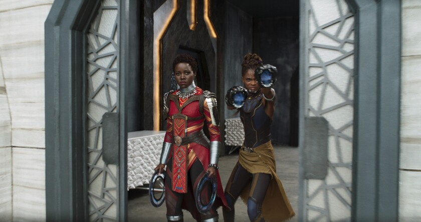 "Lupita Nyong'o and Letitia Wright in ""Black Panther"""