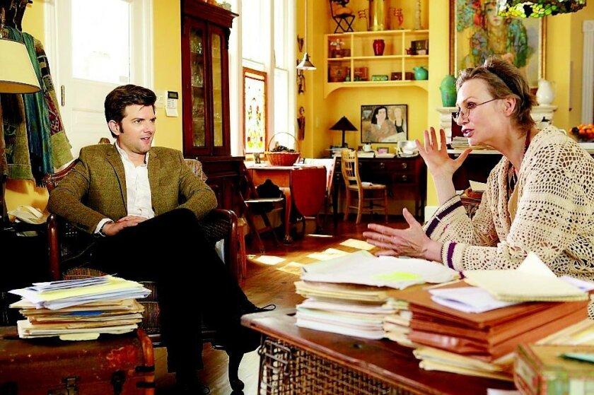 """Adam Scott (left) and Jane Lynch in """"A.C.O.D."""""""