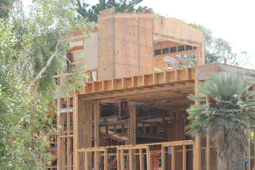 Home on Dunemere Drive under construction in La Jolla.