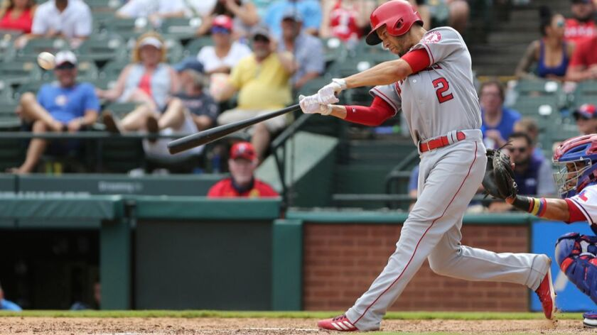 Los Angeles Angels Andrelton Simmons (2) hits an RBI double that scores Eric Young Jr. in the ninth