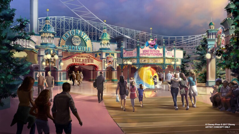 Concept art shows the planned conversion of Paradise Pier into Pixar Pier at Disney California Adventure.