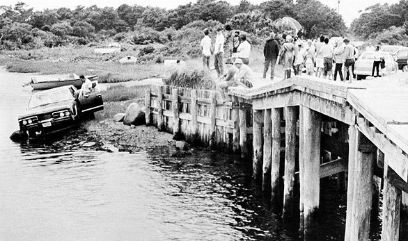 Sen. Edward Kennedy's car is pulled from the water off a bridge on Massachusetts' Chappaquiddick Island. The body of Mary Kopechne, of Washington, D.C., was found in the rear seat. Her death was attributed to drowning. Kennedy's public image and political fortunes suffered an indelible stain from the crash.