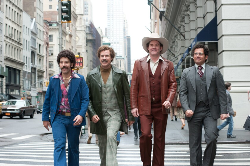 """Paul Rudd, from left, Will Ferrell, David Koechner and Steve Carell are headed back to theaters in an extended version of """"Anchorman 2."""""""
