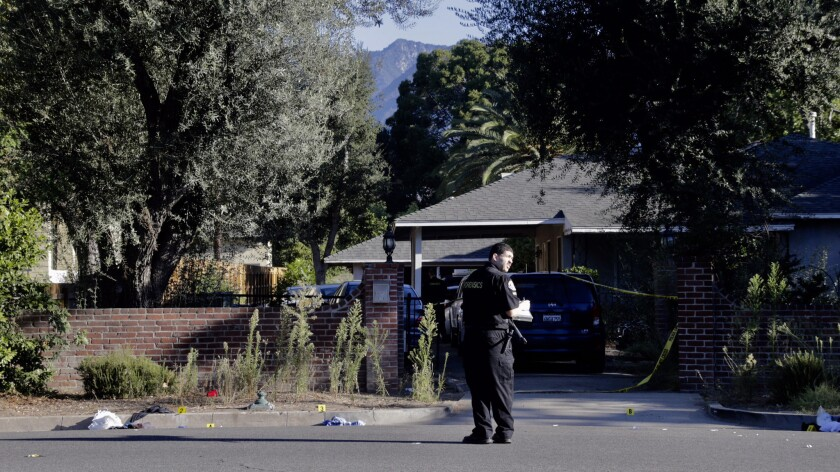 Pasadena police investigate the scene where six people were stabbed at a party.