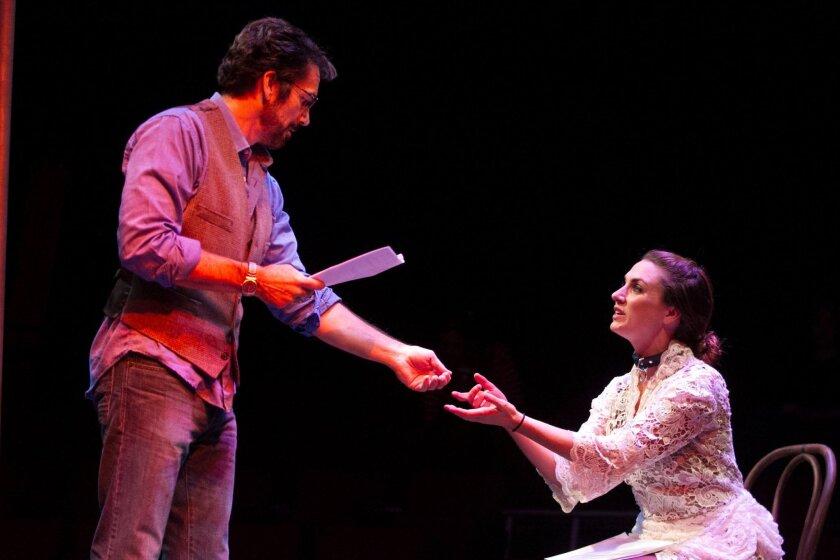 "Jeffrey Meek and Caroline Kinsolving star in San Diego Repertory Theatre's production of ""Venus in Fur."""