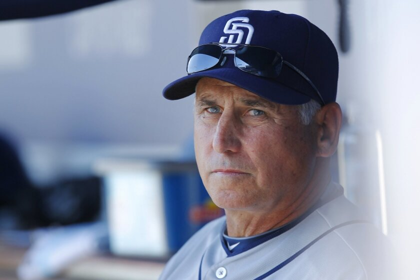 Padres manager Bud Black looks on during a game against the Dodgers this season.