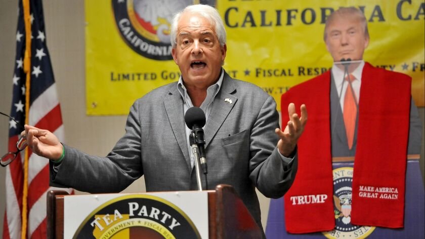 FRESNO, CALIF. - AUG. 12, 2017 - Republican gubernatorial candidate, John Cox, speaks on the topic o