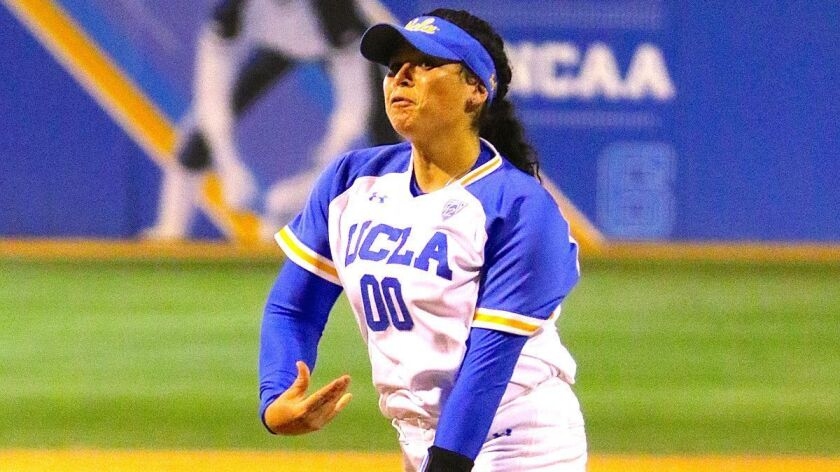 Rachel Garcia pitches during a UCLA softball game.