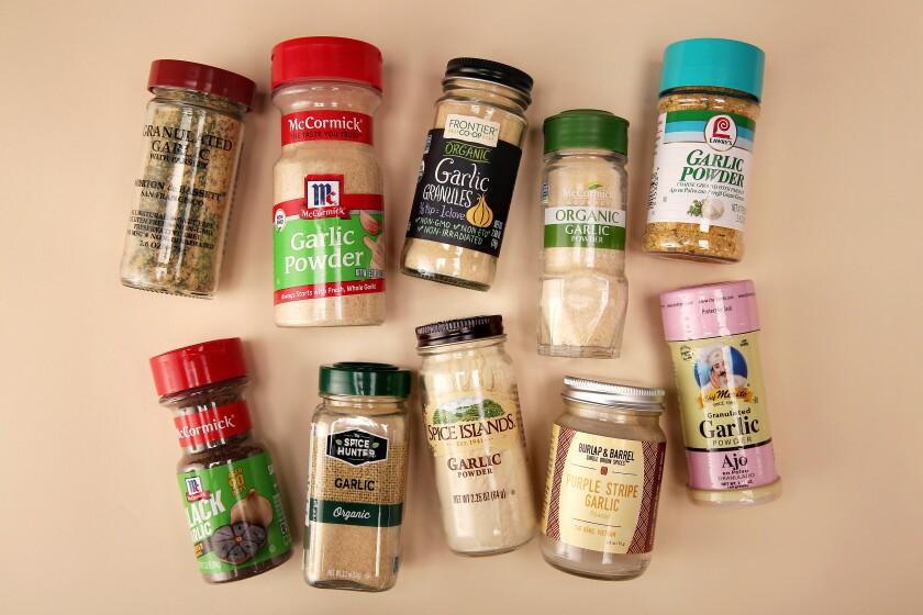 An assortment of bottled garlic powders