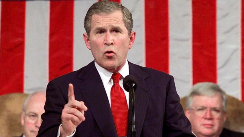 President George W. Bush delivers his first address to a joint session of Congress.