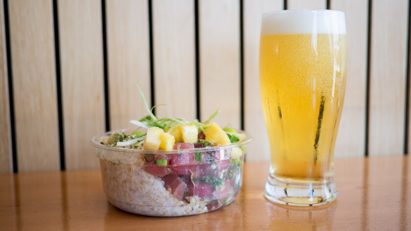 Pick Six Pils from Pizza Port Brewing is a pretty great beer to pair with poke.