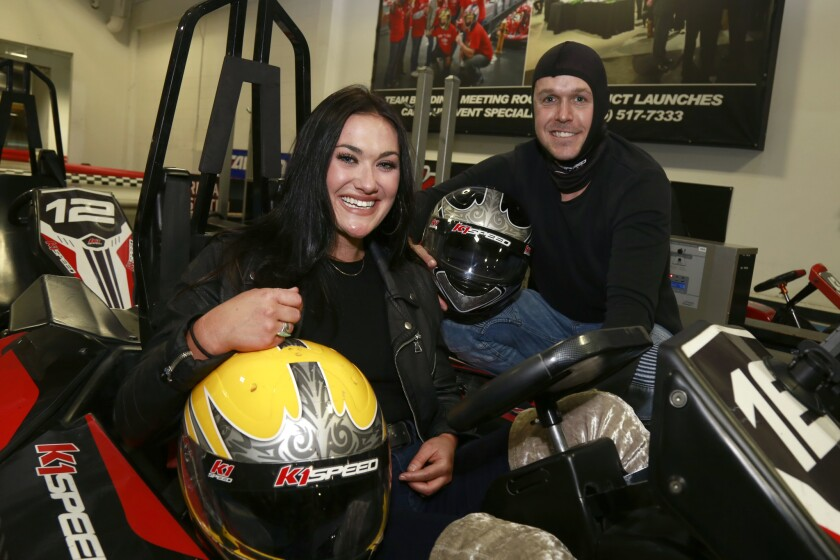 Blind daters Ellie and Chris started their evening together go-kart racing at K1 Speed in Barrio Logan.