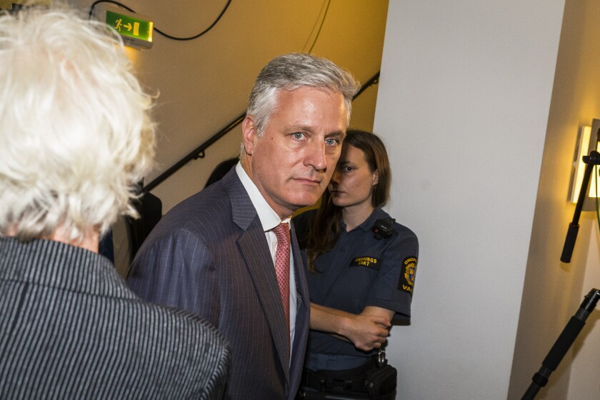 Robert C. O'Brien arrives during the first day of the ASAP Rocky assault trial July 30 at the Stockholm city courthouse.