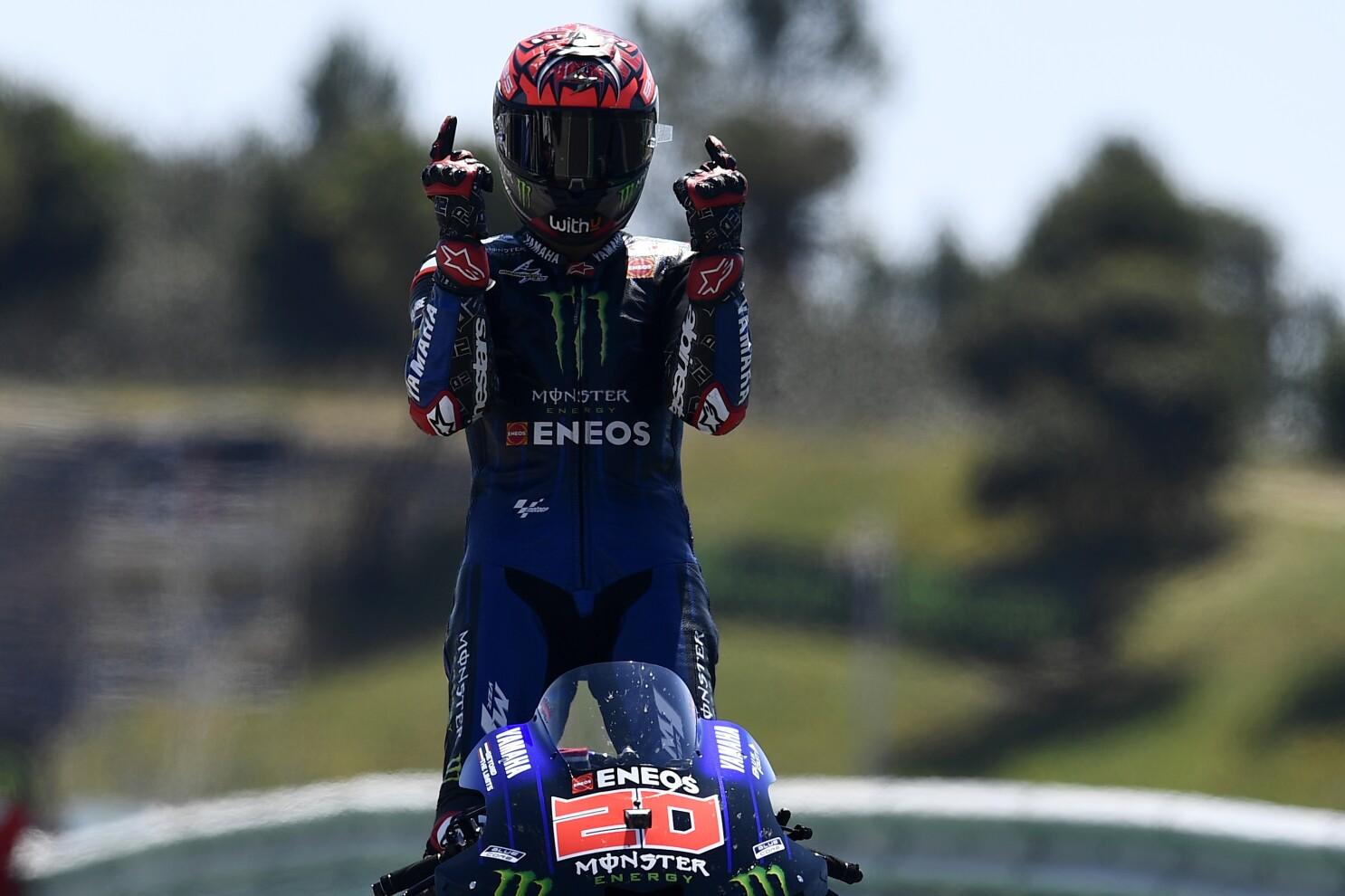 Quartararo wins Portuguese GP; Márquez 7th in 1st race back - The San Diego  Union-Tribune