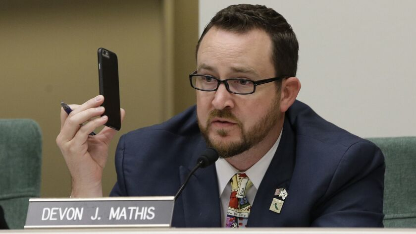 Assemblyman Devon Mathis at a 2017 hearing in Sacramento.