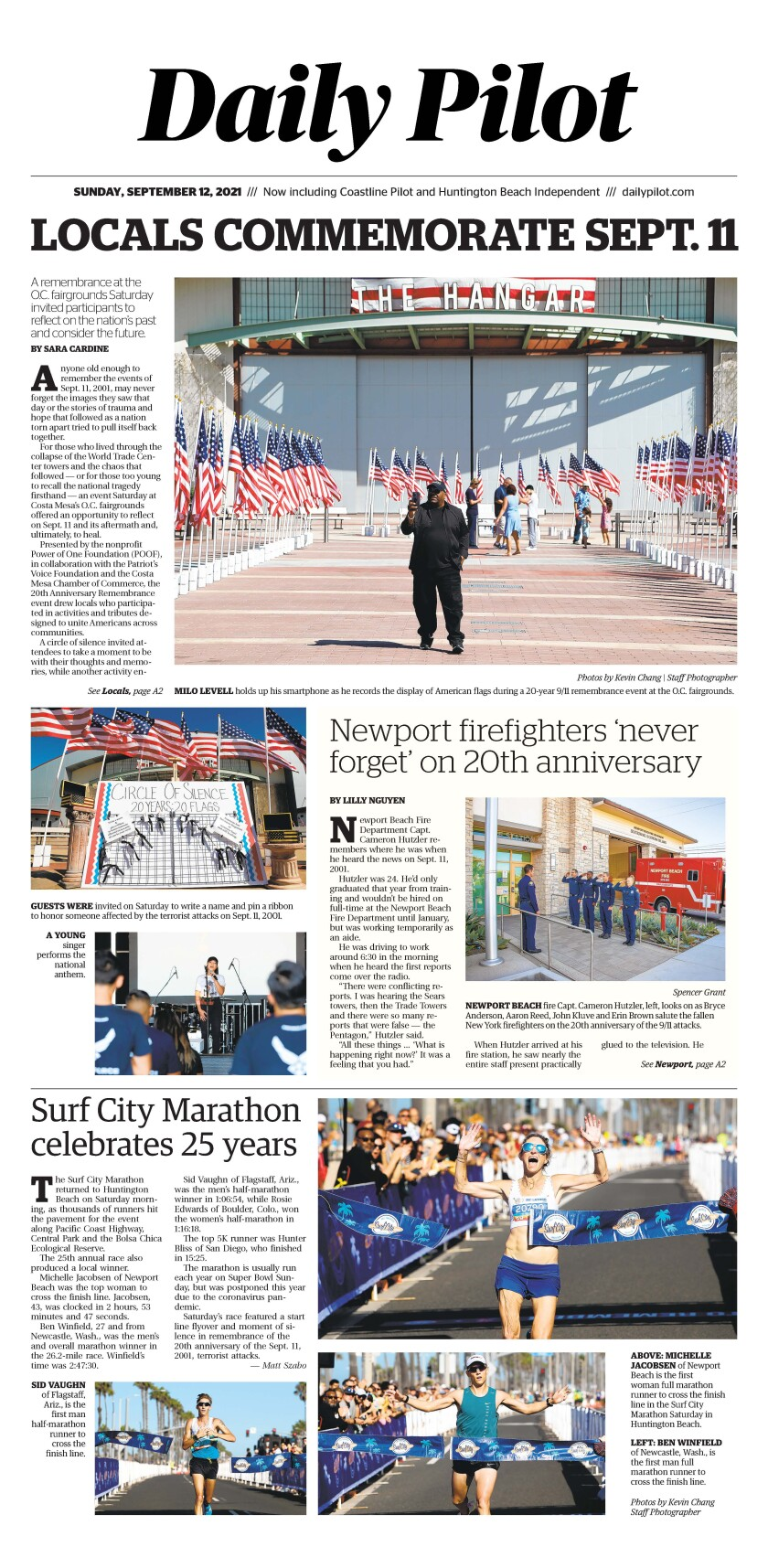 Front page of Daily Pilot e-newspaper for Sunday, Sept. 12, 2021.