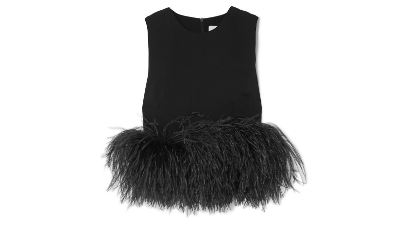 Cropped feather-trimmed crepe top from 16Arlington.