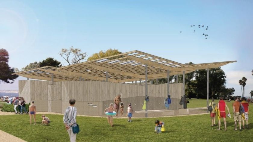 A rendering depicts the Scripps Park Pavilion project, which is slated for completion in the fall.