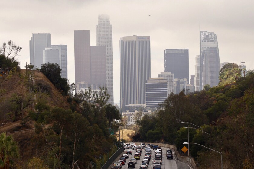 The rain-soaked 134 Freeway in the Eagle Rock neighborhood of Los Angeles, where drivers navigated slick roads that jammed traffic and caused multiple crashes on Monday morning. Heavy rains could come Friday morning.
