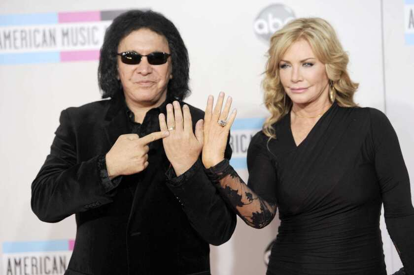 Gene Simmons and wife Shannon Tweed at the American Music Awards in 2011.