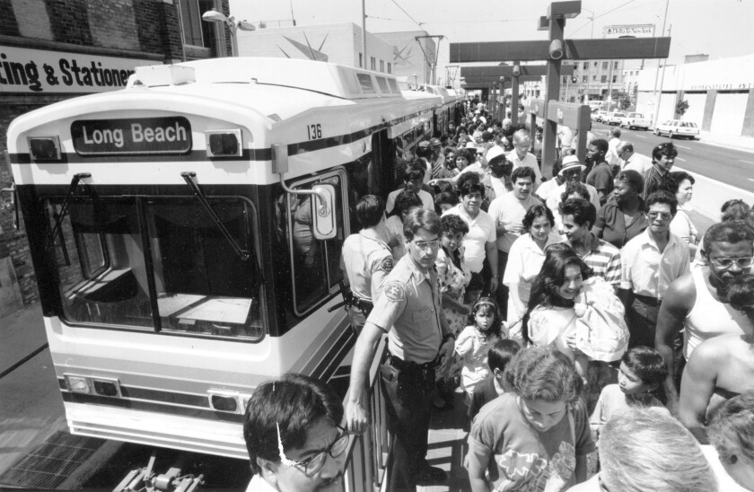 The Metro Blue Line train from Long Beach ends at 7th and Flower streets in downtown Los Angeles on July 15, 1990.